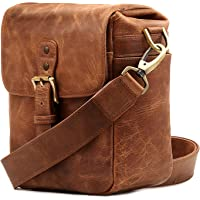 MegaGear MG1329 Genuine Leather Camera Messenger Bag for Mirrorless, Instant and DSLR Cameras, Brown
