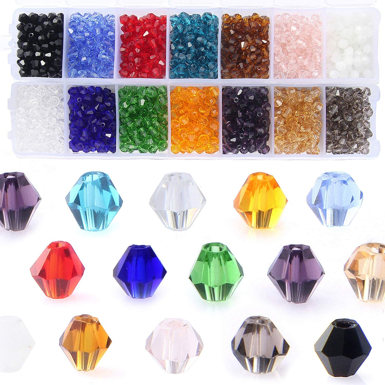 Vintage Glass Bicone and hexagon shaped beads
