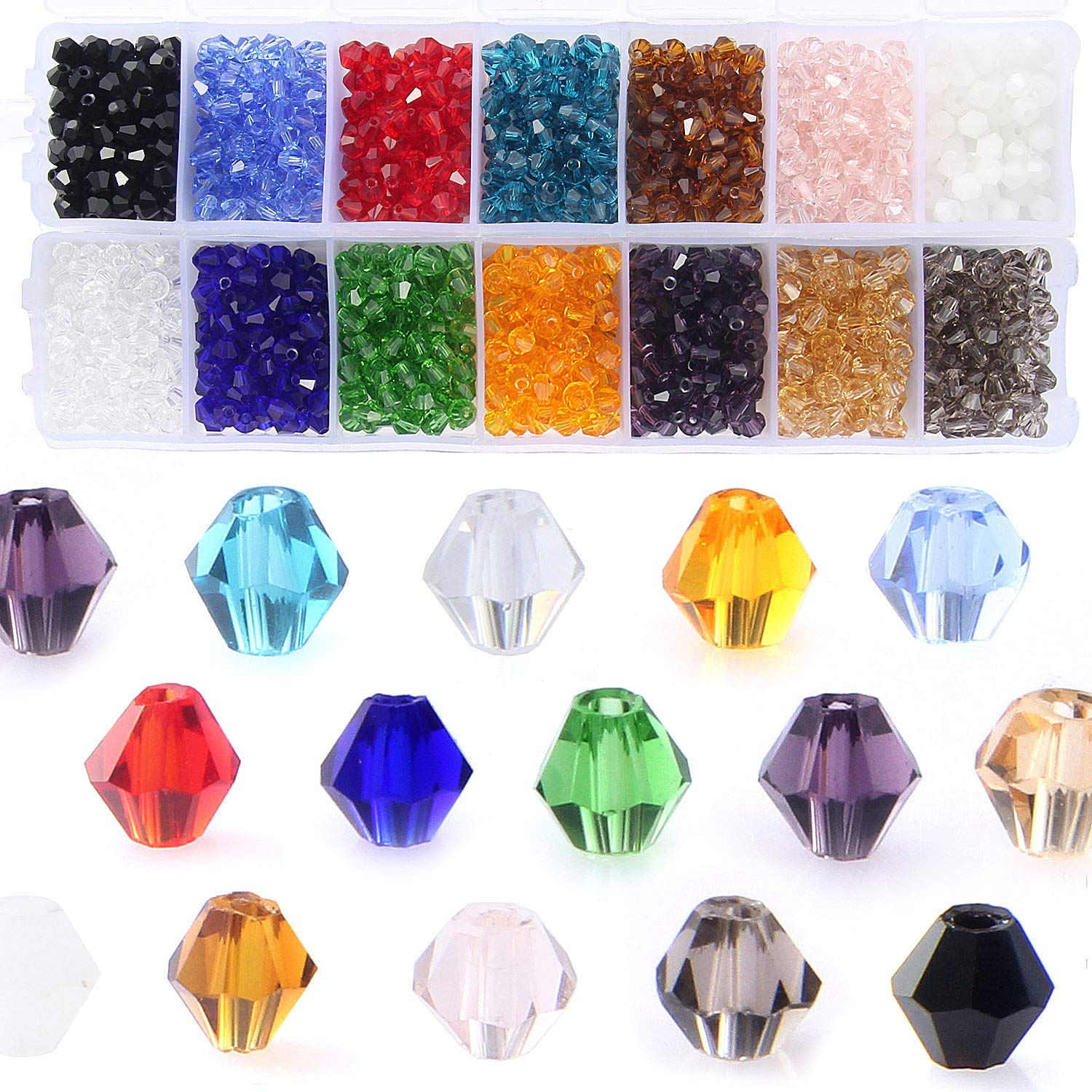 Bicone Crystal Beads Bulk Beaded-Wholease 4MM Czech Beads Mix Lot of 1400pcs Faceted Crystal Glass Beads Seed Beads for Jewelry Findings by ZHUBI