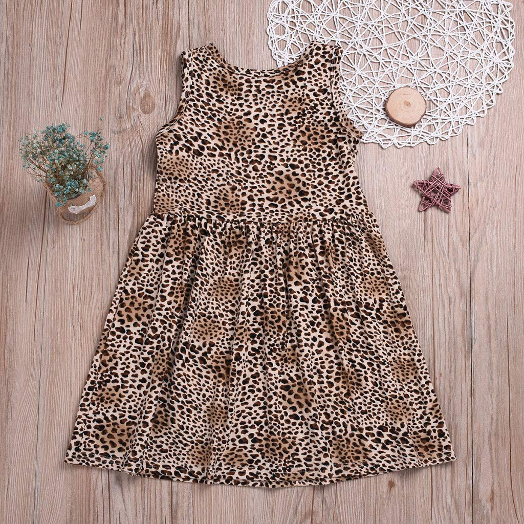 Lanhui Sleeveless Dresses Leopard Chillies Print Dress Toddler Baby Girls Clothes
