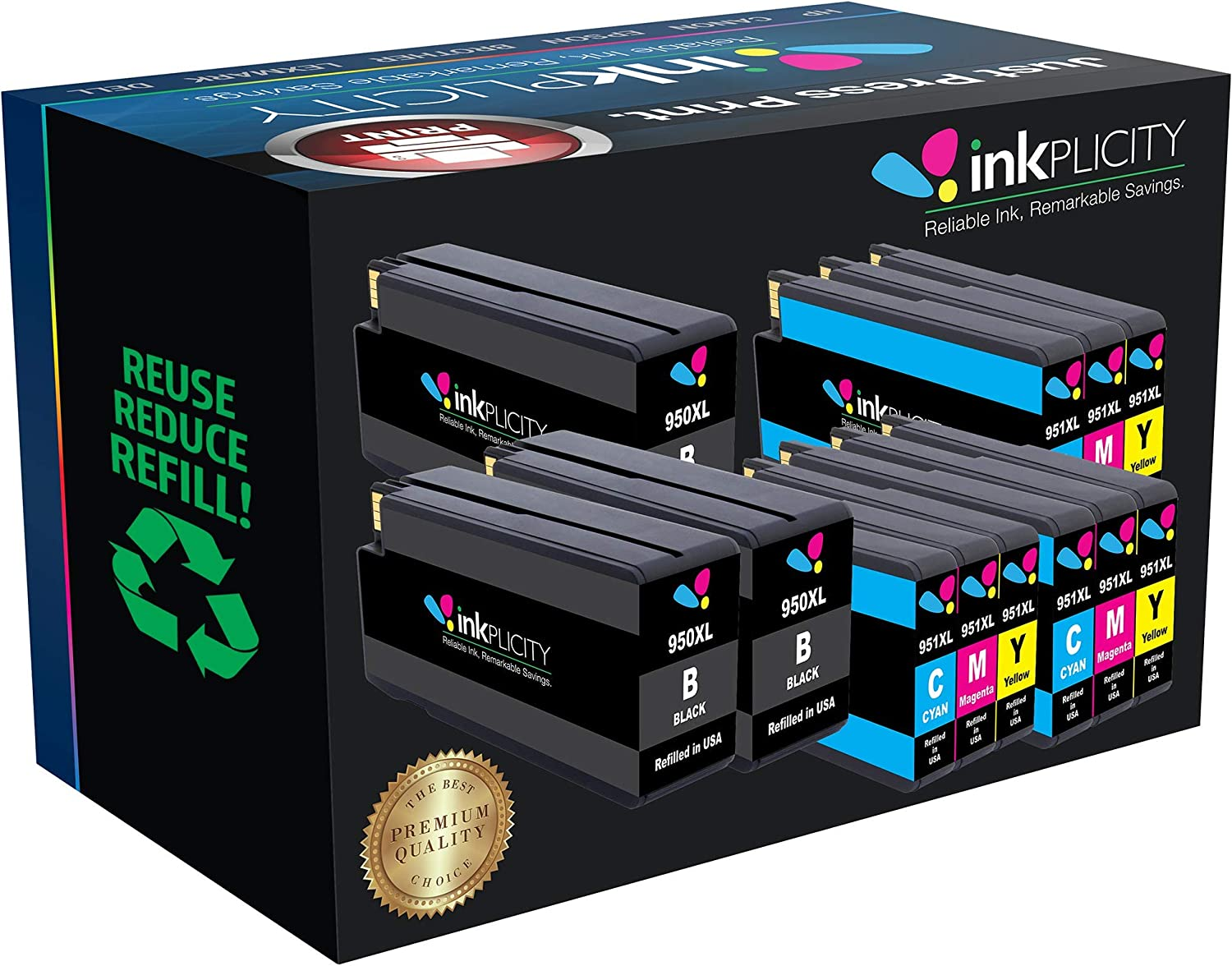 Inkplicity Refilled Ink Cartridge Replacement for HP 950XL-951XL (Black, Cyan, Magenta, Yellow, 12-Pack)