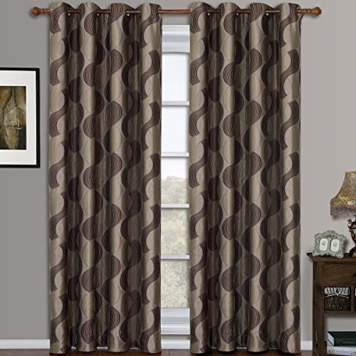 Savanna Mocha Grommet Jacquard Window Curtain Panel