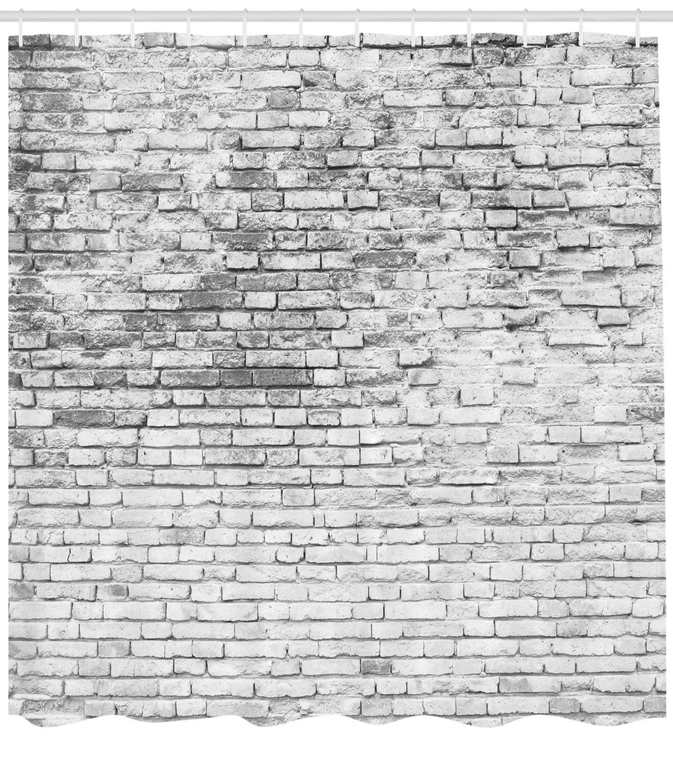 Lunarable Brick Wall Shower Curtain, Worn and Cracked Grunge Stained Brick Wall Masonry Architecture Image Print, Cloth Fabric Bathroom Decor Set with Hooks, 105'' Extra Wide, White Grey