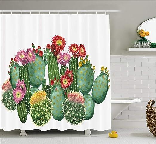 vrupi Cortina Ducha suculenta patrón Cactus Cactus Vino Tropical jardín botánico patrón impresión Forestal decoración baño Cortina Ducha Tela Pop Tiene 12 Ganchos: Amazon.es: Hogar