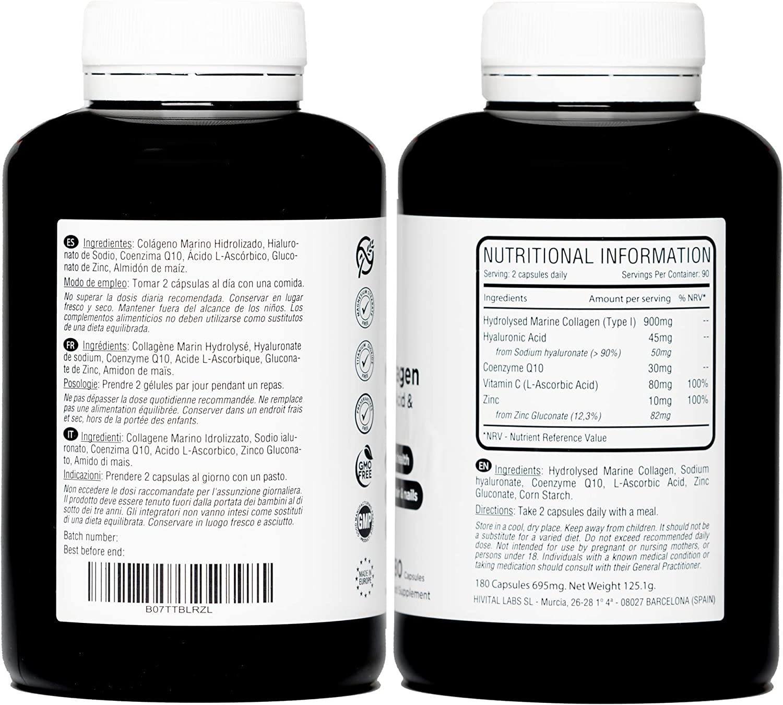Colágeno Marino con Ácido Hialurónico, Coenzima Q10, Vitamina C y Zinc | 180 cápsulas (Suministro para 3 meses) | Péptidos que mantienen articulaciones, cartílagos, huesos, piel, cabello y uñas sanos: Amazon.es: Salud