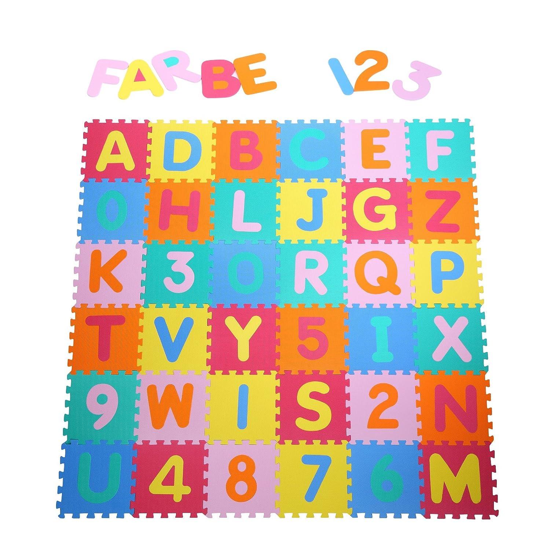 Yorbay Alfombra puzle para Niños bebe infantil, esteras de 32x32 cm, 36 piezas Numeros 0 al 9 y 26 Letras en Espuma EVA not apply does not apply