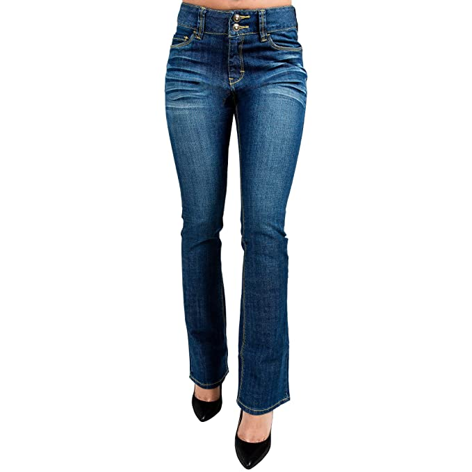 f2945c3bfe91e2 Miss Halladay Women's Stretch Denim Whisker Medium Blue Wash Skinny Bootcut  jeans Two-Button Waistband