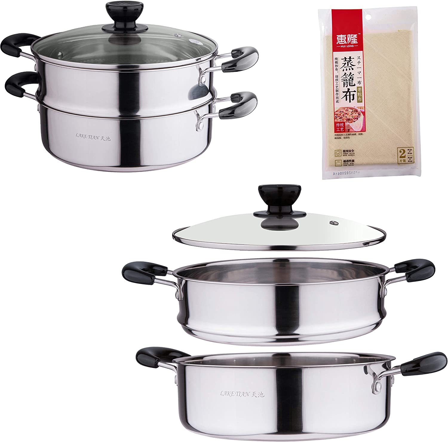 2 Tier Stainless Steel Steamer for Cooking w/Liner, Vegetable Steamer, Double Boiler Pot, Steamer Pot Cookware Pot with Lid, Heavy Duty Induction, 10 Quart by LakeTian (26cm/ 10″)