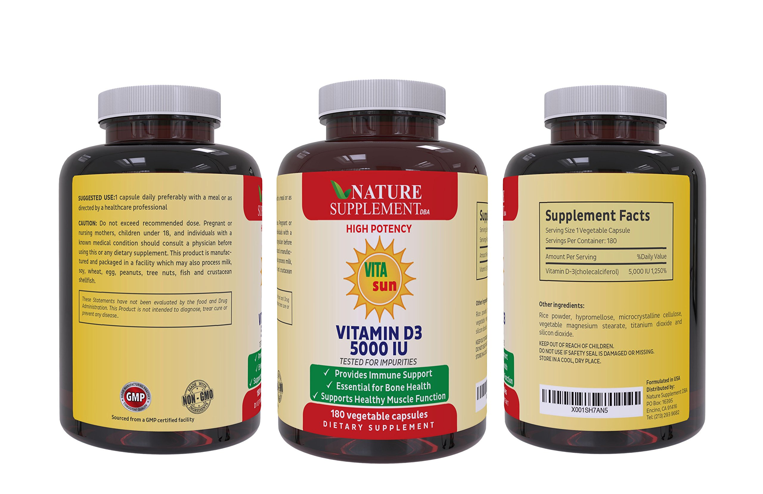 VITAsun Vitamin D3 5000 IU: Best for Immune Support,Bone Health, Muscle  Health