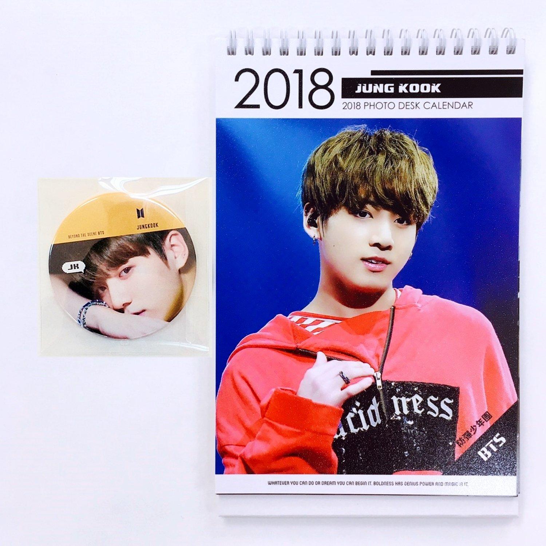 Amazon BTS Bangtan Boys 2018 2019 Desk Calendar with BTS Handheld Mirror JUNGKOOK fice Products