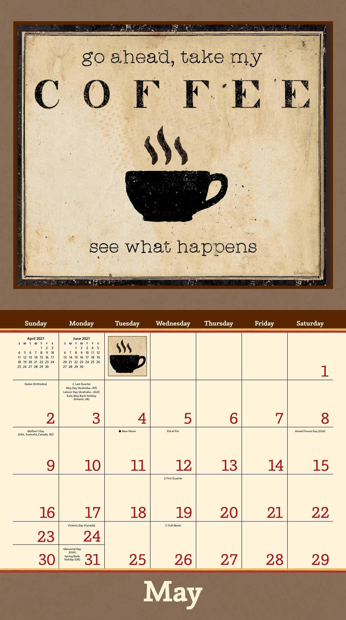 Coffee Calendar 2021 Background