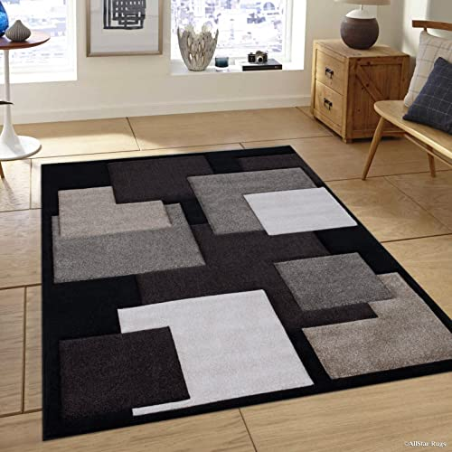Allstar 5×7 Black Modern and Contemporary Hand Carved Rectangular Accent Rug with Ivory, Mocha and Espresso Geometric Over Lapping Square Design 5 2 x 7 1