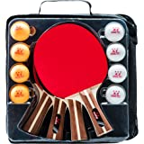IntegraFun Ping Pong Paddle Set - 4 Player Table Tennis Paddles with 8 Balls and Paddle Case - Durable Rubber- Soft Bouncy Sp