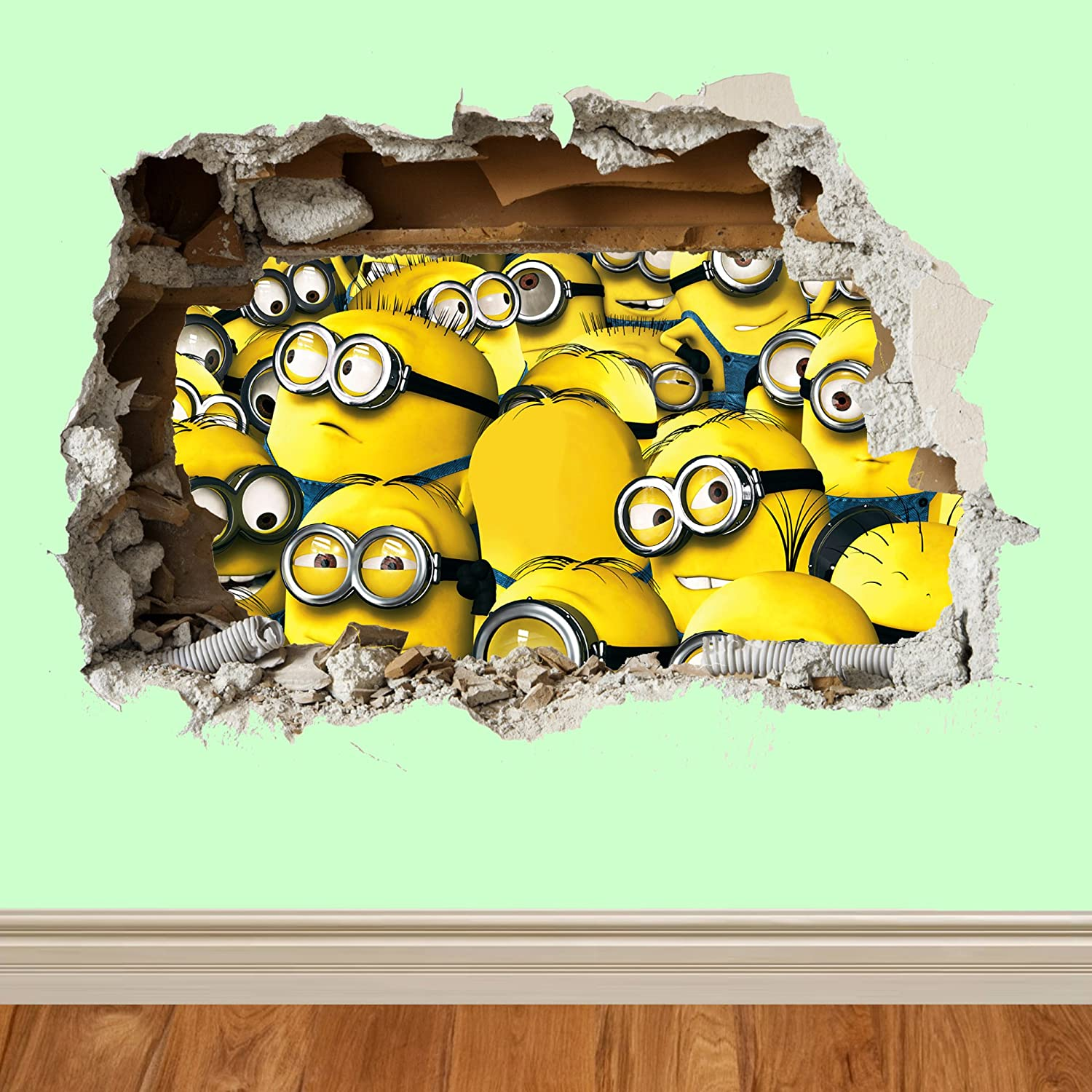 Childrens minions 3d wall smash despicable me wall vinyls wall art childrens minions 3d wall smash despicable me wall vinyls wall art wall stickers wallart 70cm wide customise4utm minions wall smash group amazon amipublicfo Images
