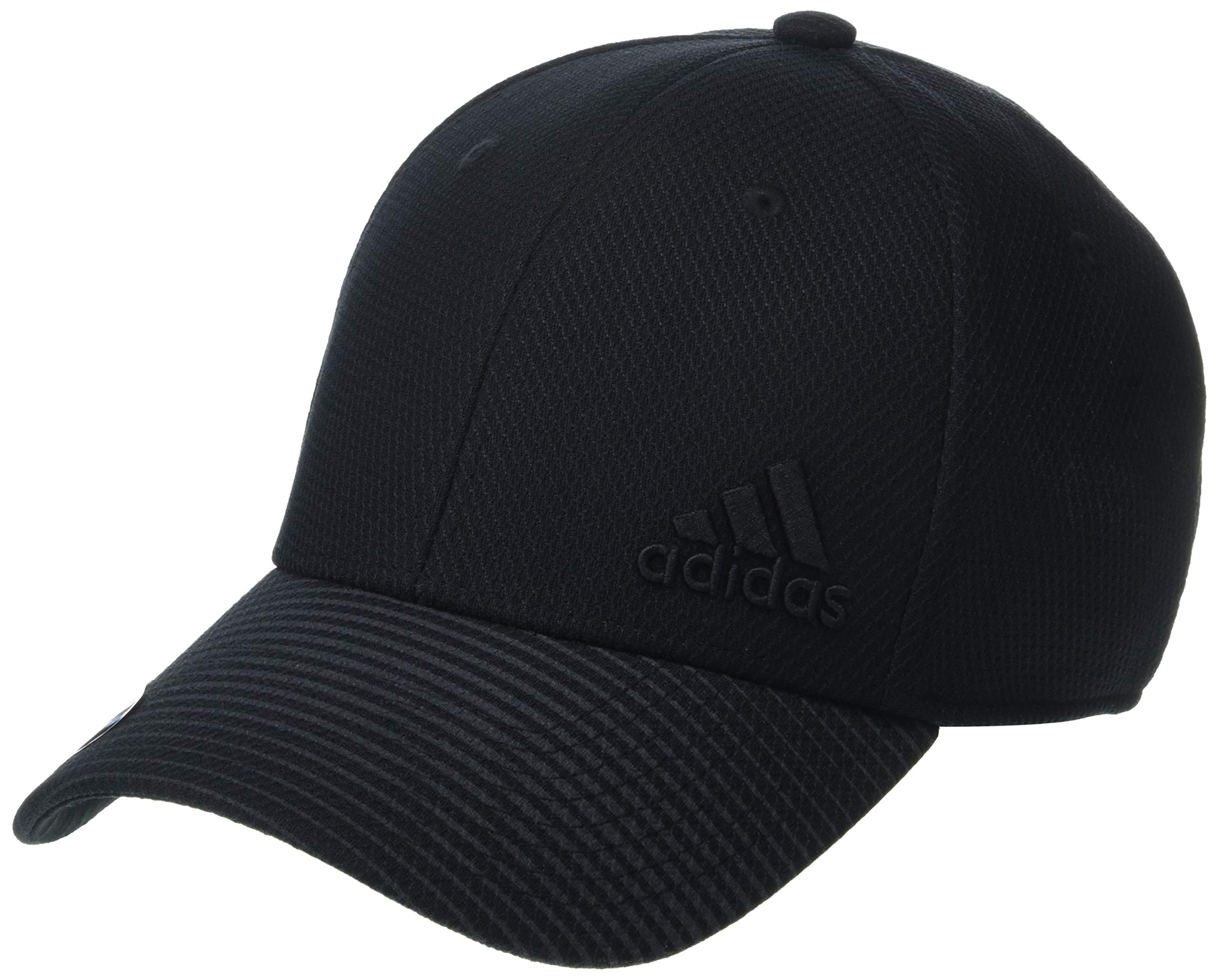 adidas Men's Release Stretch Fit Structured Cap, Black/Black, Large/X-Large