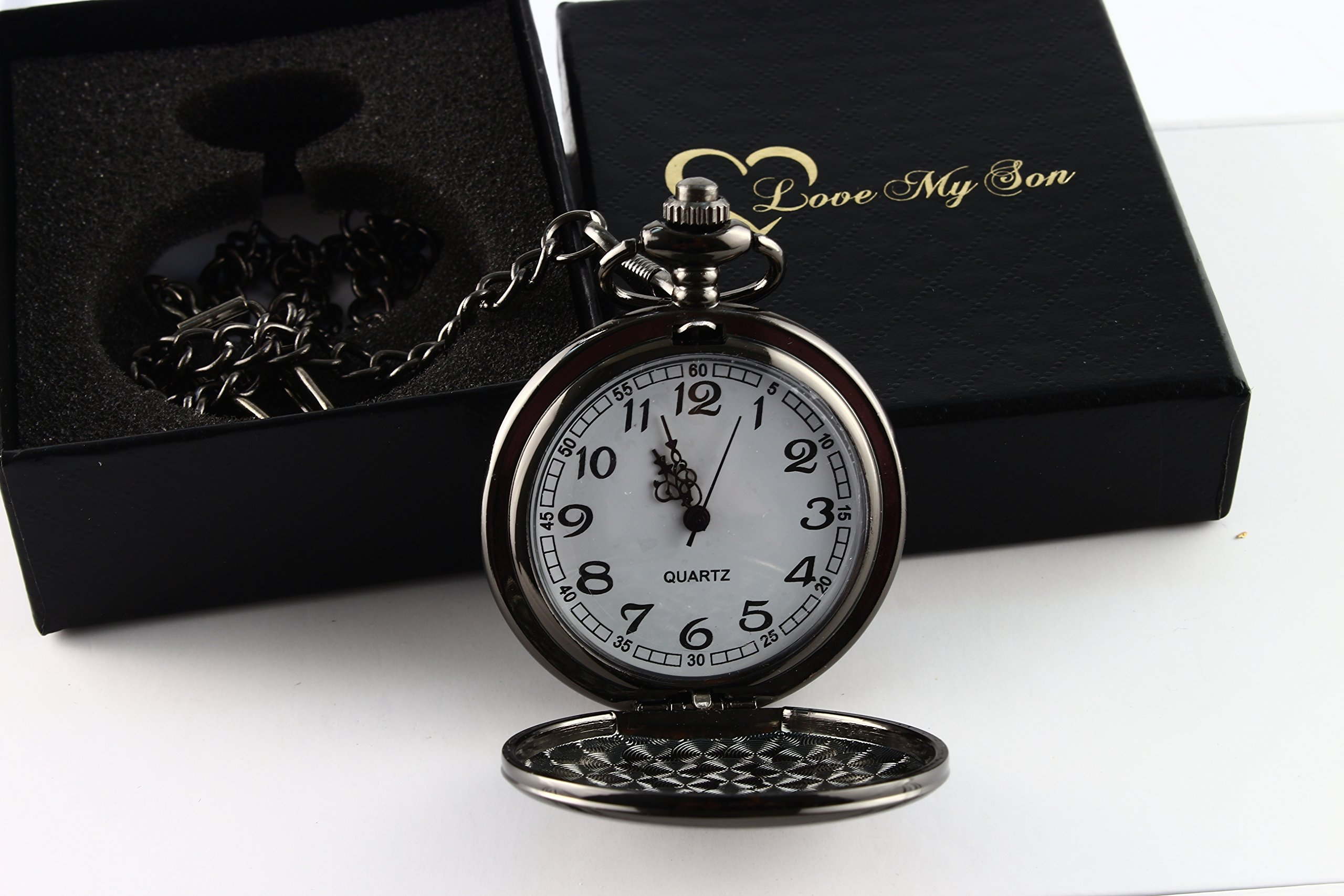 To My Son - Love Dad Pocket Watch with chain Birthday Gift Ideas To Son From Father - Black by GPlee Gift (Image #1)
