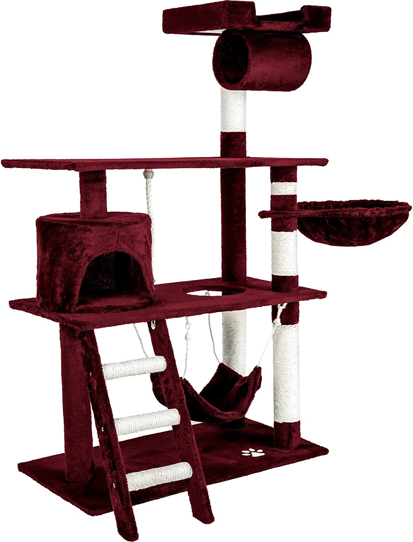 TecTake Rascador para Gatos Árbol para Gatos Sisal Juguetes 141 cm (Burdeos Rojo | no. 401856)