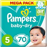 Pampers Baby-Dry Diapers, Size 5, Junior, 11-15 kg, Mega Pack, 70 Count