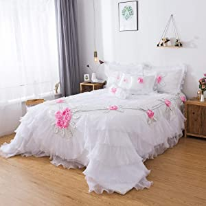 Tache Home Fashion MA125-K 6 Piece Floral Delicate Rose Pink White Luxurious Comforter Set, King