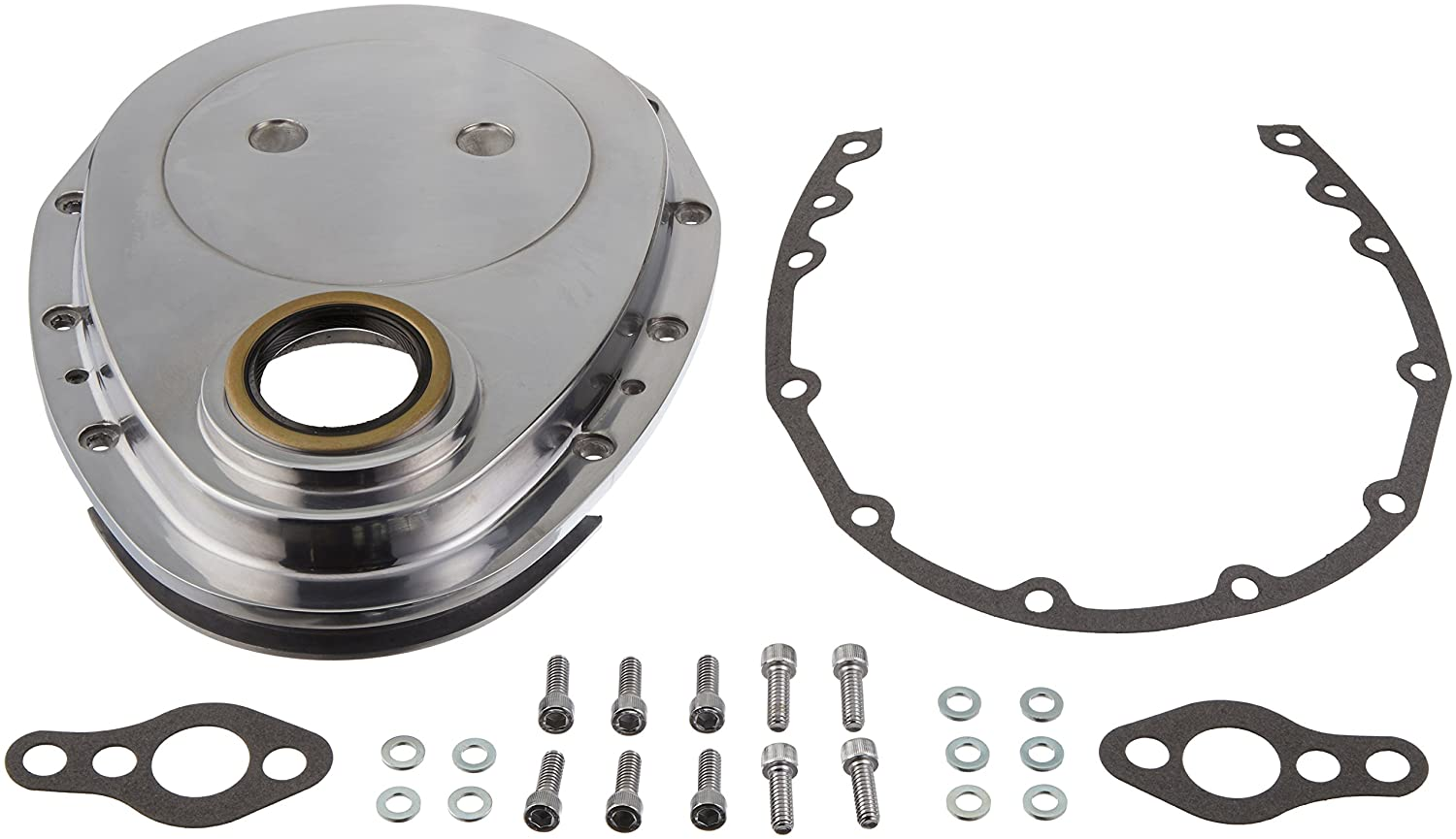 Racing Power Company R6040 Polished Aluminum Timing Cover for Small Block Chevy