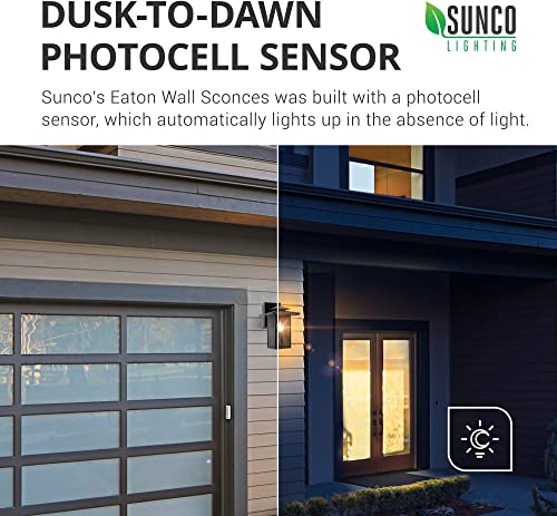 Sunco Lighting 4 Pack Cage Wall Sconce, Matte Black, Steel Mesh Shade, Dusk-to-Dawn Photocell Sensor, E26 Base, Outdoor Lantern, Waterproof, Suitable for Porch, Patio, Entryway