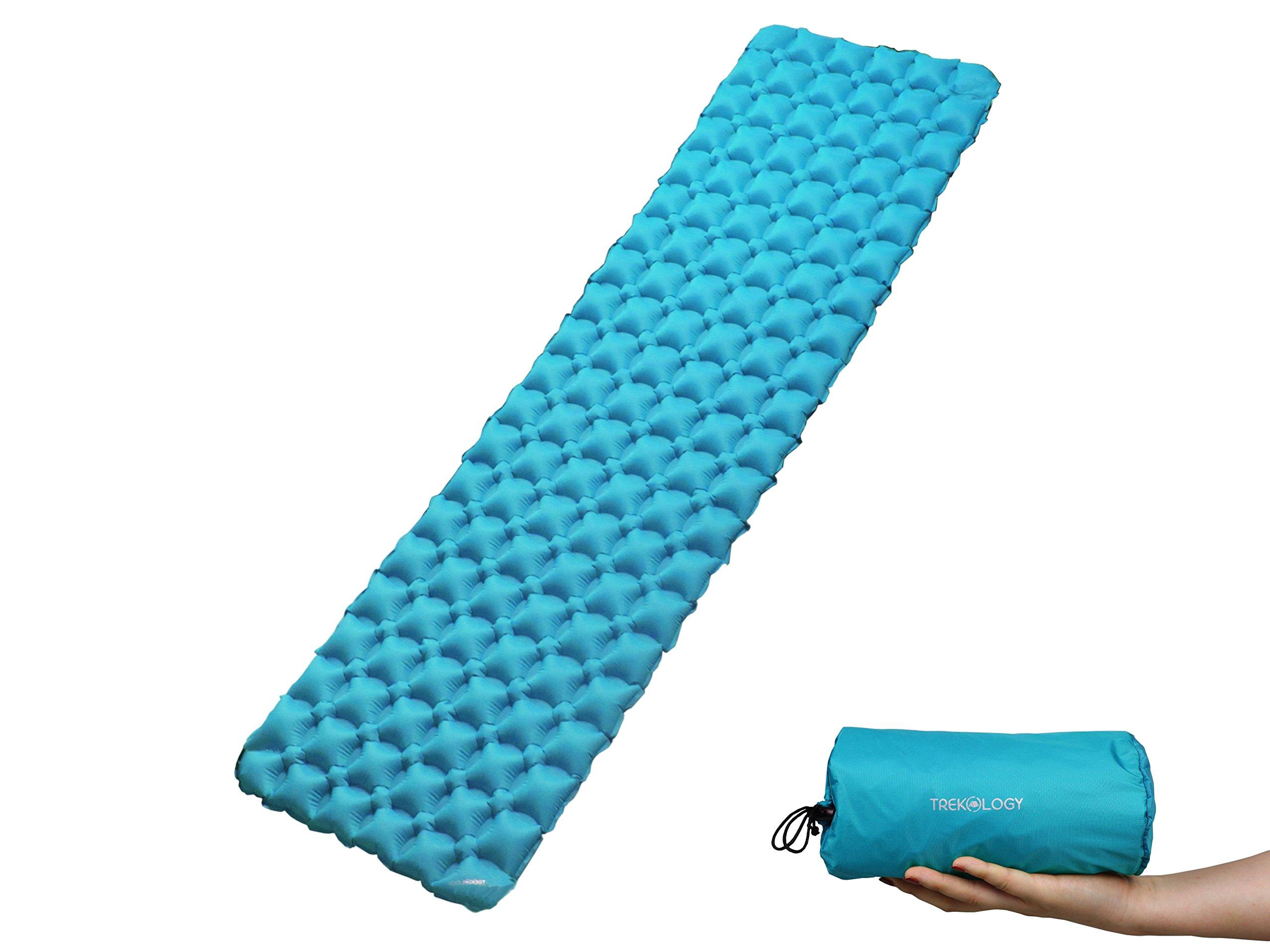 Trekology Inflatable Sleeping Pad, Camping Mats for Sleeping - Compact Lightweight Camp Mat, Ultralight Comfortable Backpacking Mattress Best as Tent Hammock Outdoor Pads (Teal Blue) by Trekology