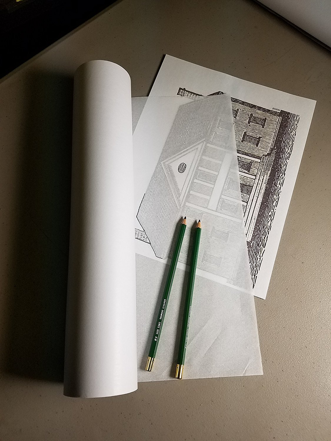 INCLUDES 2 TWO #8B Soft Graphite Sketching Pencils 75 Yards Princeton Supply Tracing Paper Roll 14 Inches X 225 Feet