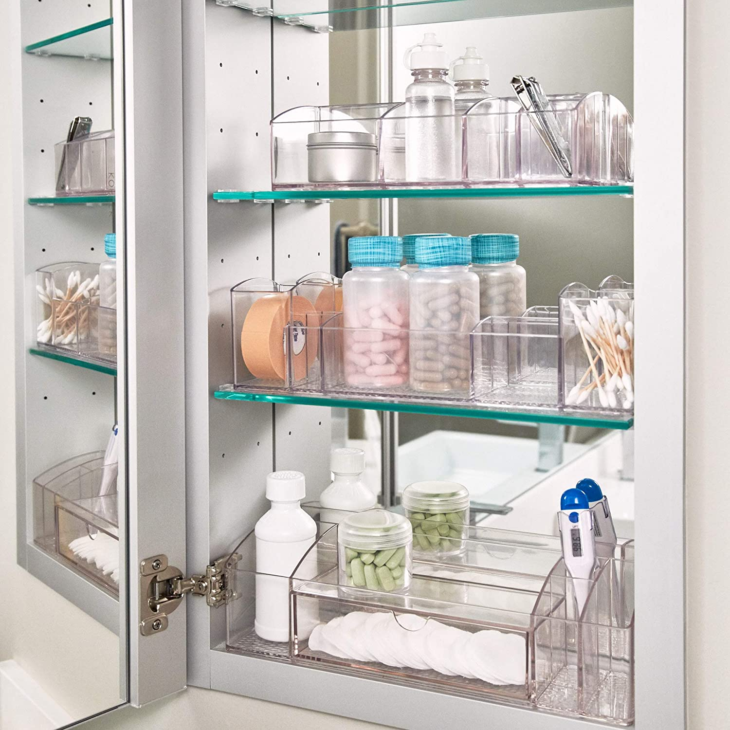 Amazon Com Idesign 43030 Med 12 Plastic Divided Vanity Medication And Bathroom Accessory 12 X 3 X 3 5 Multi Level Organizer Home Kitchen