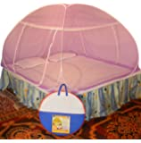 Healthy Sleeping Foldable Polyester Double Bed Mosquito Net (Violet)