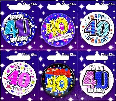 Simon Elvin - Pack de 6 chapas con motivo 40 cumpleaños (Talla Única/Multicolor): Amazon.es: Ropa y accesorios