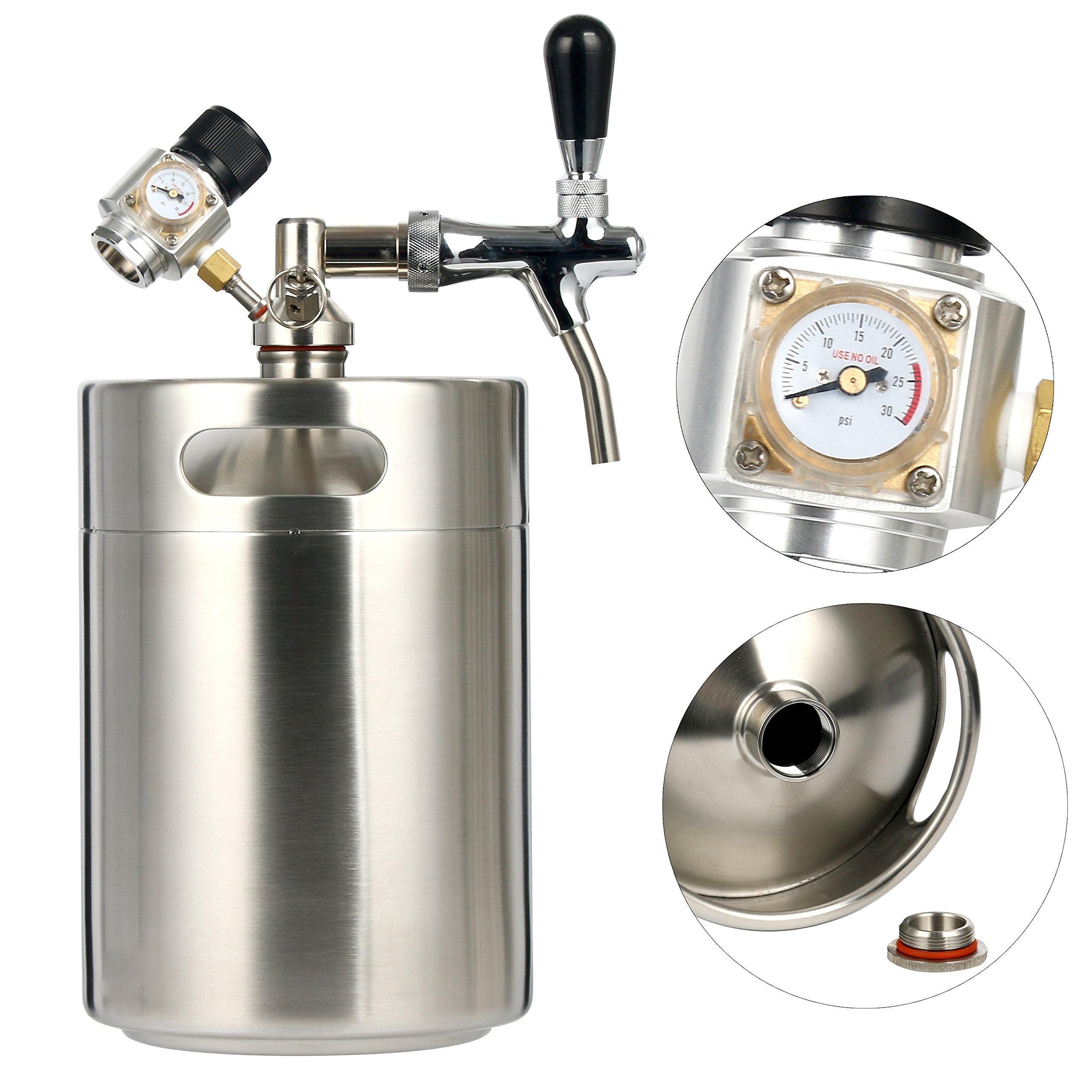 YaeBrew Mini CO2 Regulator and 5L 170 oz Stainless Steel Keg System Kit Home Brew Kegerator Beer Dispensor …