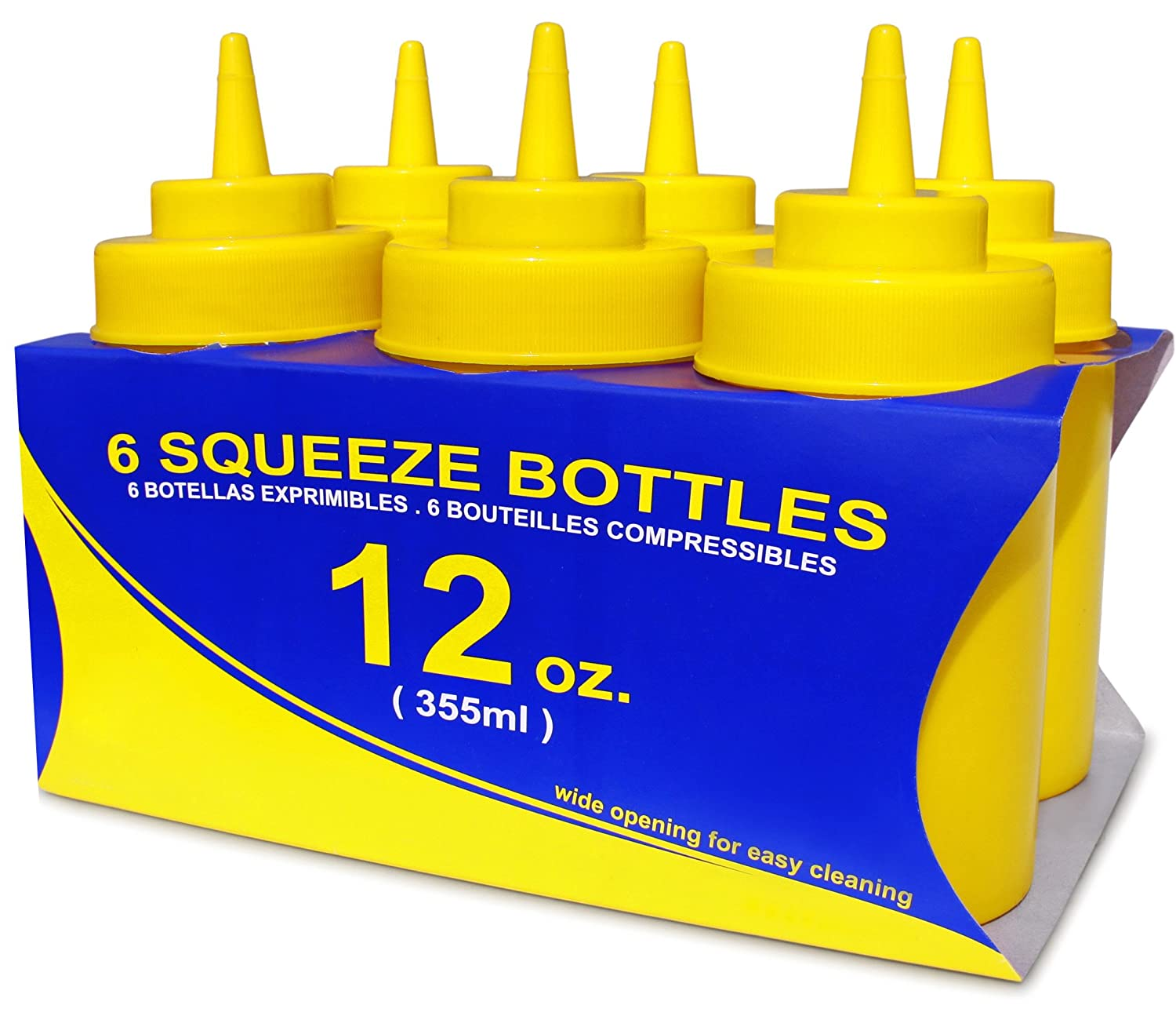 Pack of 6 12 oz New Star Foodservice 26023 Squeeze Bottles Plastic Red Wide Mouth