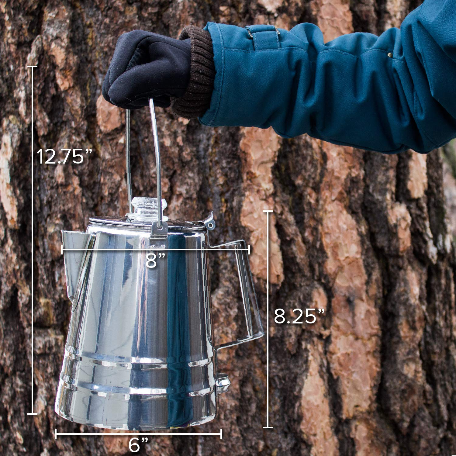 14Cups Stainless Steel Camping Coffee Pot Campfire ...