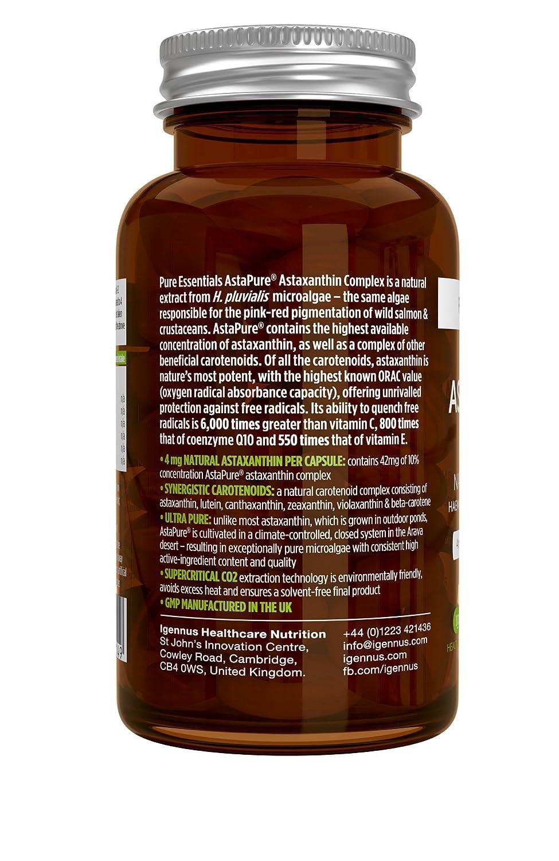 Pure Essentials Complejo de Astaxantina Natural, 4 mg de astaxantina 42 mg de AstaPure, con luteína y zeaxantina, 90 cápsulas: Amazon.es: Salud y cuidado ...