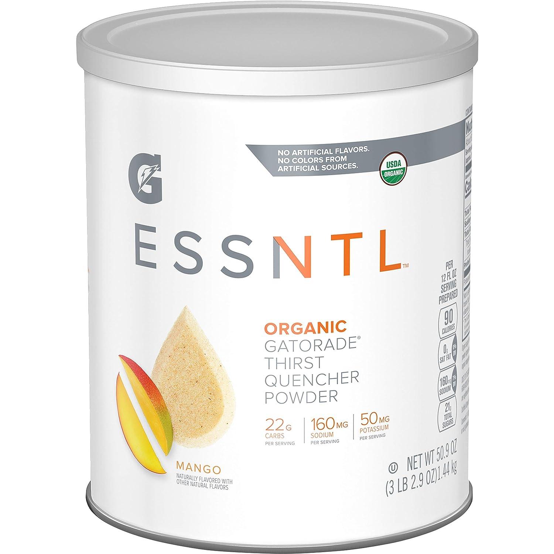 G ESSNTL Organic Gatorade Thirst Quencher Powder, Mango, 50.9oz Canister (Pack of 3)