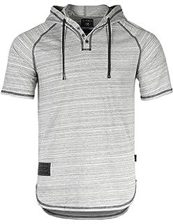 a4a8ec6dc2ce ZIMEGO Men s Contrast Short Sleeve Round Bottom Raglan Hoodie Henley T- Shirts