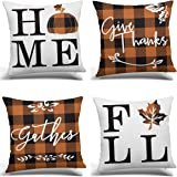 RUOAR Set of 4 Home Fall Buffalo Check Plaid Pumpkin Maple Leaf Throw Pillow Cover, 18 x 18 Inch Autumn Give Thanks…