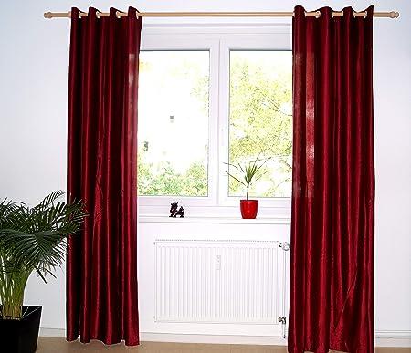 Cortina opaca de vino tinto Ruwado en tela aplastada, cortinas ...