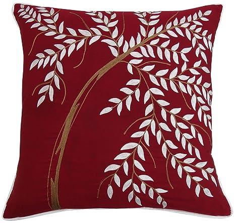 S4Sassy Leaf Square Bordado Cojín Throw Almohada India Maroon Funda de Almohada de algodón-14 x 14 Pulgadas