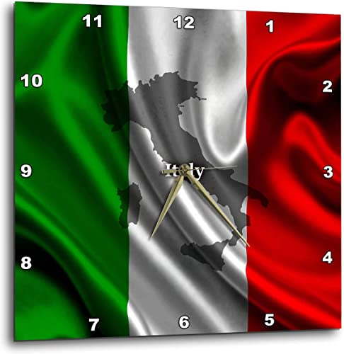 3dRose DPP_204475_3 Italian Flag Design Wall Clock, 15 by 15