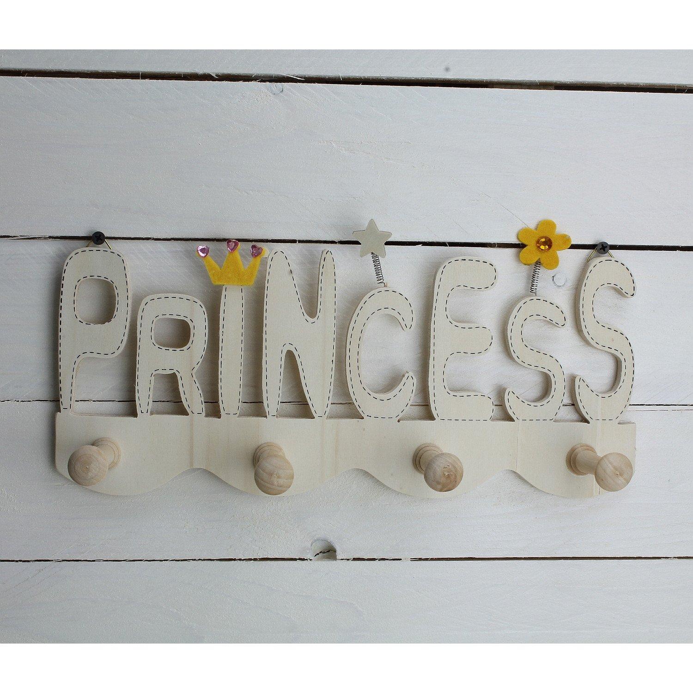 gorras y m/ás Perchero InfantilPrincess de madera//perchero con 4/ganchos de madera//Dise/ño Gancho de pared habitaci/ón de los Ni/ños//perchero para chaquetas