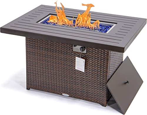 YeSea Propane fire Pit 44″ fire Table 55,000 BTU Auto-Ignition fire Pit Table Gas firepit