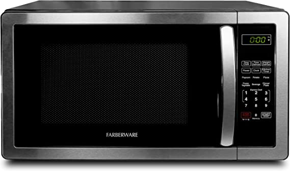 Farberware FMO11AHTBKB 1.1 Cu. Ft. Stainless Steel Countertop Microwave Oven With 6 Cooking Programs