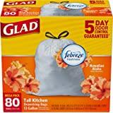 Glad OdorShield Tall Kitchen Drawstring Trash Bags, Hawaiian Aloha, 13 Gallon, 80 Count (Packaging May Vary)