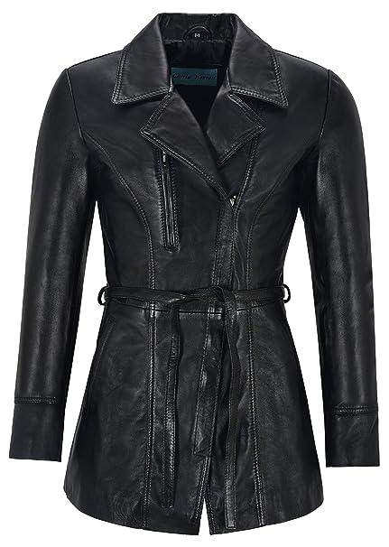 Smart Range Leather Co Ltd. Sarina Abrigo Largo Mujer Cuero Negro Chaquetas clásicas Longitud Medio