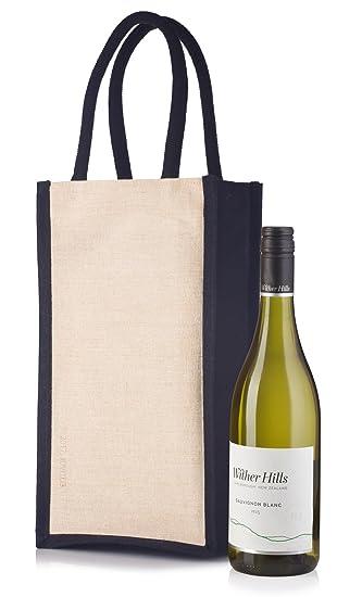 Amazon.com: Vino bolsa con asas para botella de 2 negro y ...