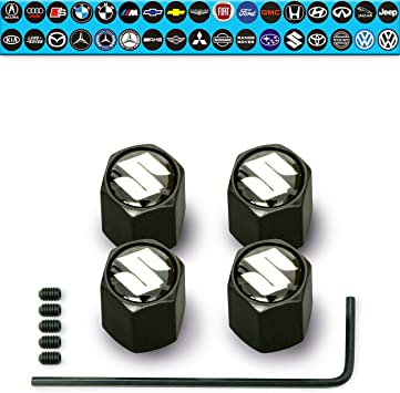 Grey Qingtech Aluminium Tyre Valve Caps for Toyota Auto Car 4pcs