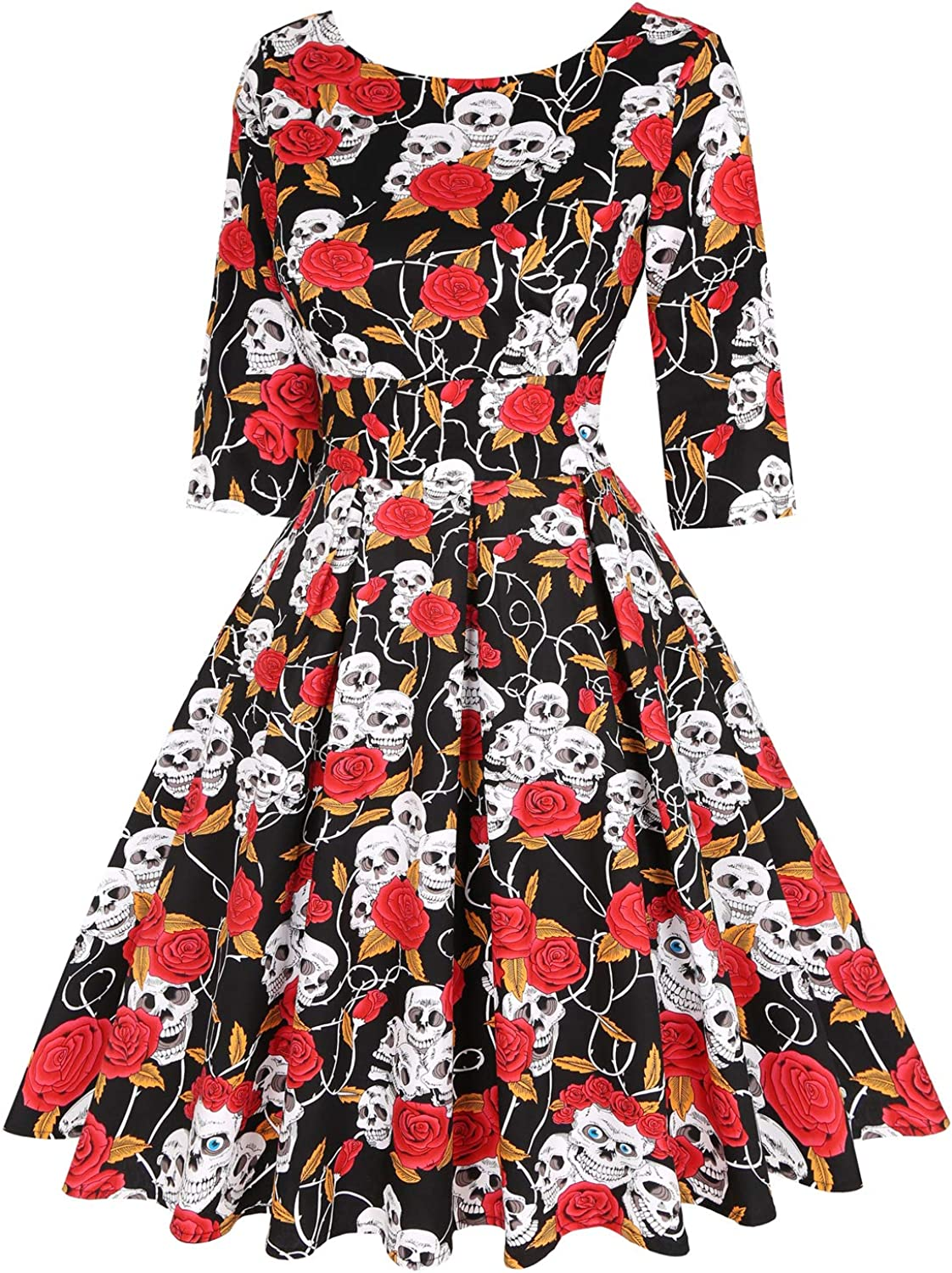 MINTLIMIT Womens 1950s Retro Vintage Cocktail Party 3//4 Sleeve Swing Dress