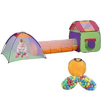 MC Star Plegable Tienda de Campaña Pop-up 3 en 1 Túnel Niños Parque Piscina Infantil Juego Interior y Exterior Casa de Juguete, con 200 Bolas de ...