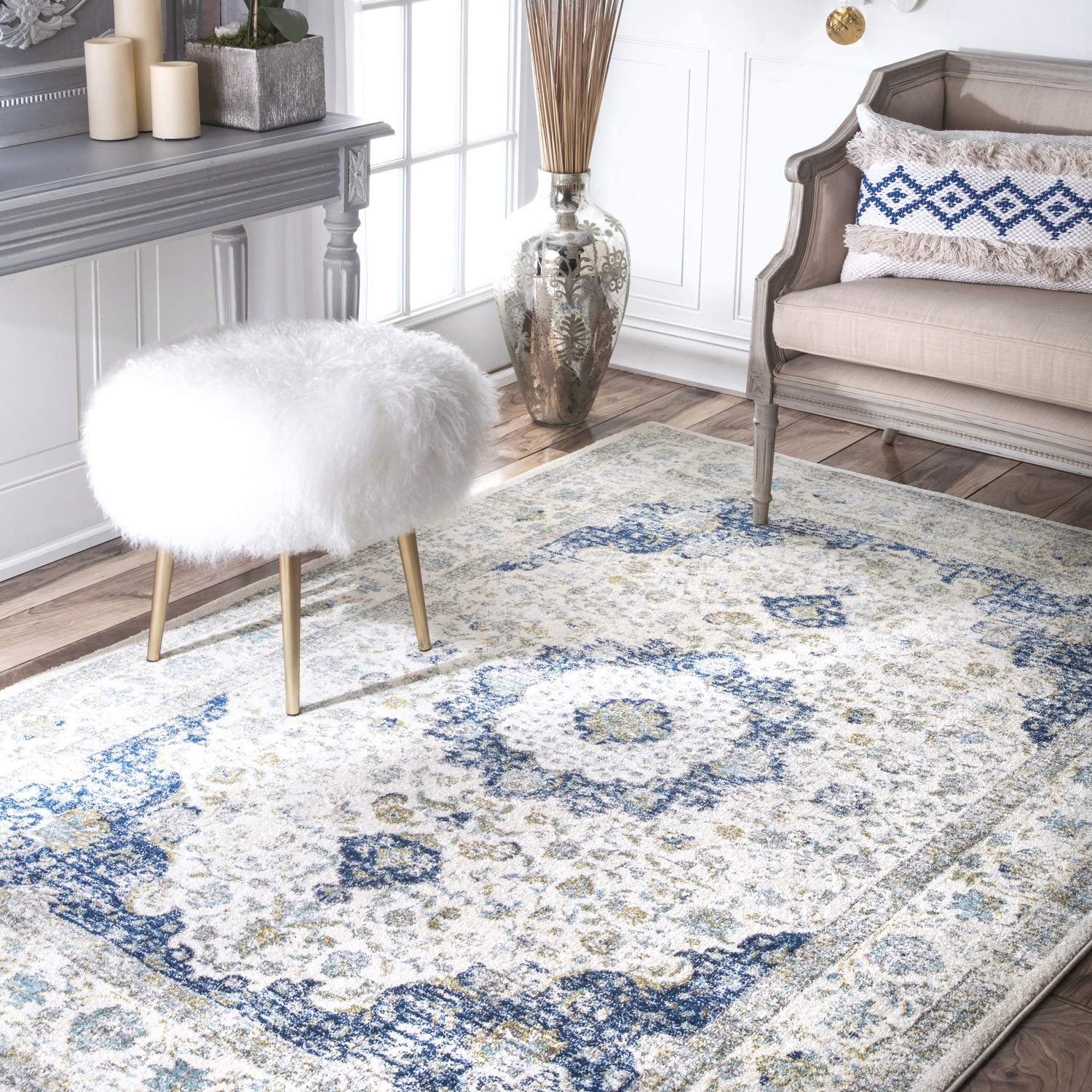 "nuLOOM Persian Verona Distressed Area Rug, 5' x 7' 5"", Blue"